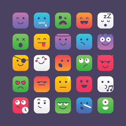 Colorful Square Emoji Set 2 - Immagini vettoriali stock e altre immagini di Alieno