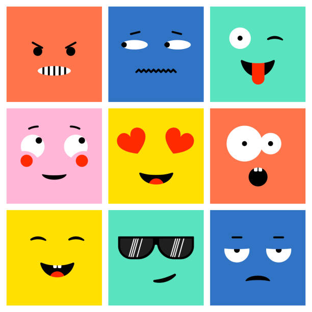 colorful square emoji - tears of joy emoji stock illustrations
