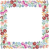 Colorful square frame made from Hungarian embroidery pattern