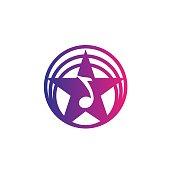 Colorful star music note recording studio logo design