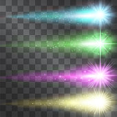 Colorful stars with narrow comet tails for text announcements, brand names, ads etc. Moving meteorites with decorative sparkling traces of halo and stardust, neon glow on transparent background.