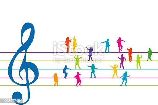 Colorful stave with sol clef and kids dancing instead of musical notes