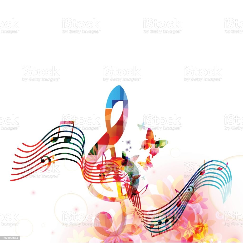 Colorful stave with music notes and butterflies royalty-free colorful stave with music notes and butterflies stock vector art & more images of art