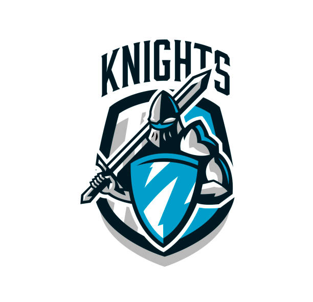 Colorful , sticker, emblem of the knight in iron armor. Knight of the Middle Ages, shield, warrior, swordsman, crusader, defender of the fortress. The mascot of the sports club.Vector illustration Colorful , sticker, emblem of the knight in iron armor. Knight of the Middle Ages, shield, warrior, swordsman, crusader, defender of the fortress.The mascot of the sports club.Vector illustration mascot stock illustrations