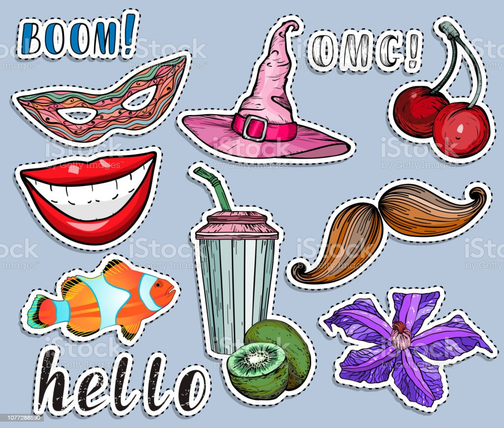 Colorful stickers set. Party and summer exotic concept. vector art illustration