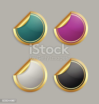 Set of golden colorful stickers for custom design purposes