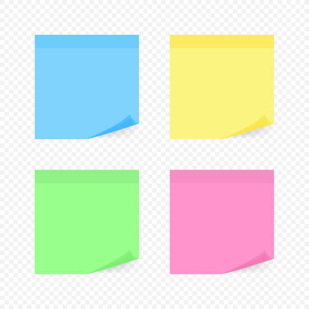 illustrazioni stock, clip art, cartoni animati e icone di tendenza di colorful sticky note, vector illustration. - post it