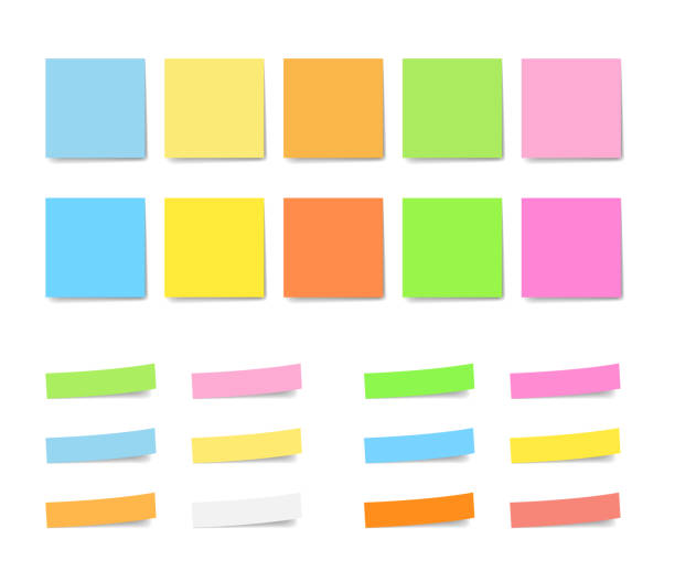 illustrazioni stock, clip art, cartoni animati e icone di tendenza di colorful sticky notes set - post it