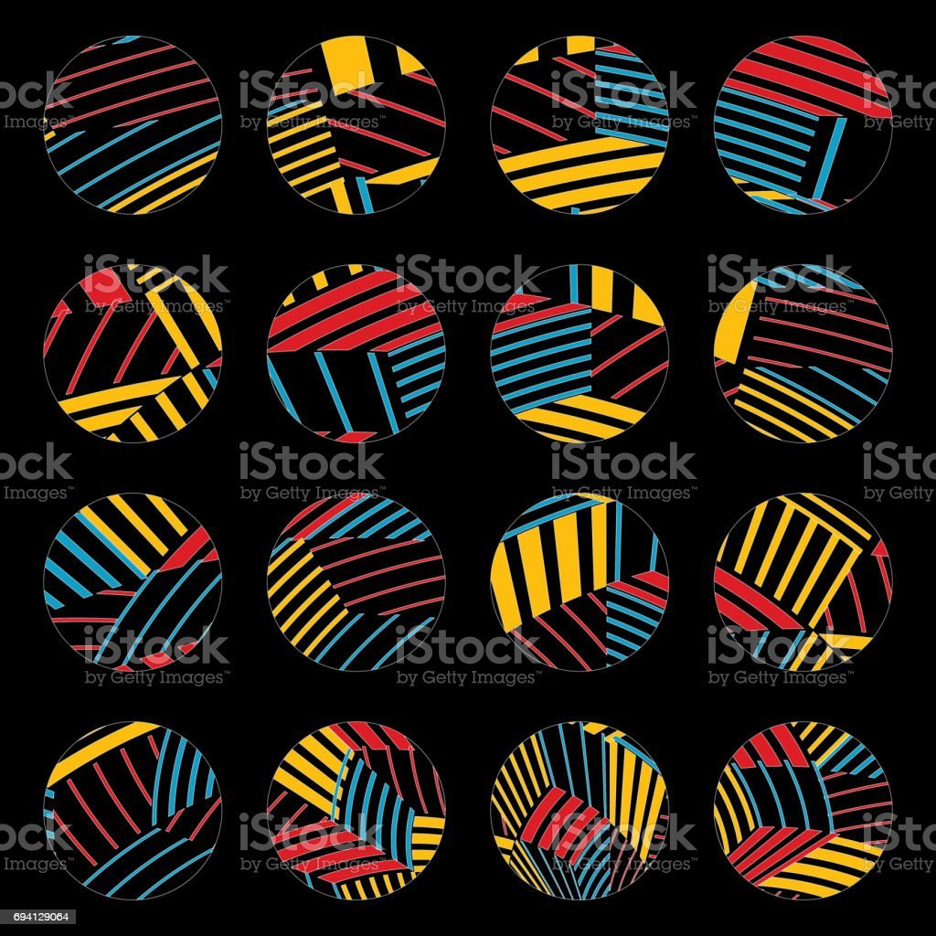 Colorful stripe circle pattern buttons collection vector art illustration