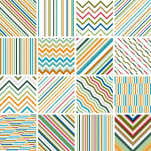 Set of 16 striped seamless patterns.