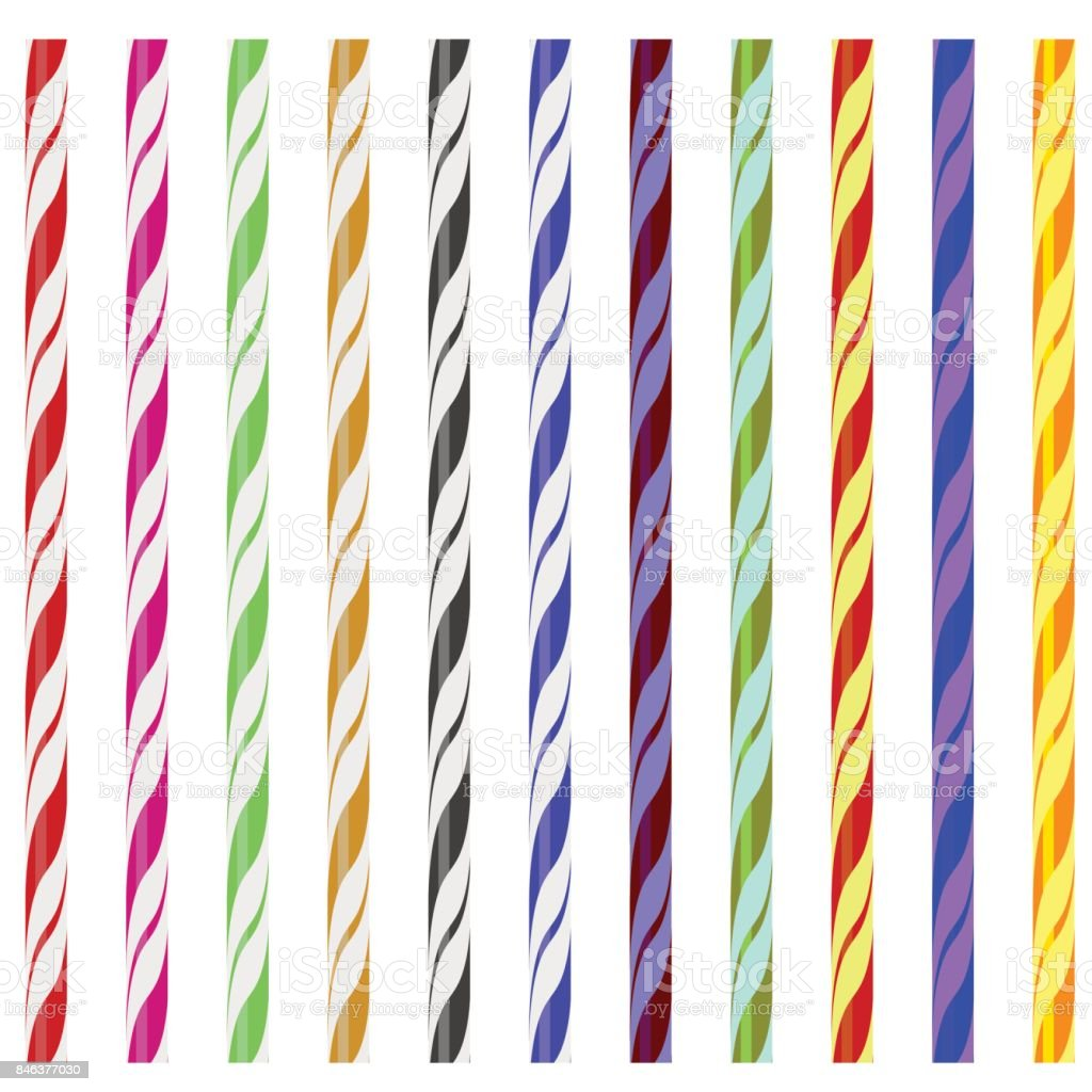 Colorful Striped Drinking Straws vector art illustration