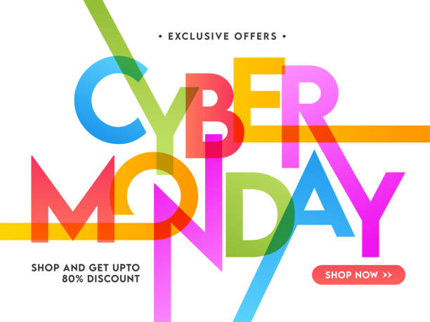 Colorful Stylish Cyber Monday Text with 80% Discount Offer on White Background for Sale. vector art illustration