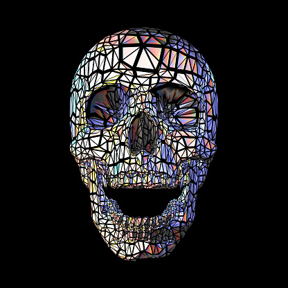 Colorful stylized polygonal skull on black BG