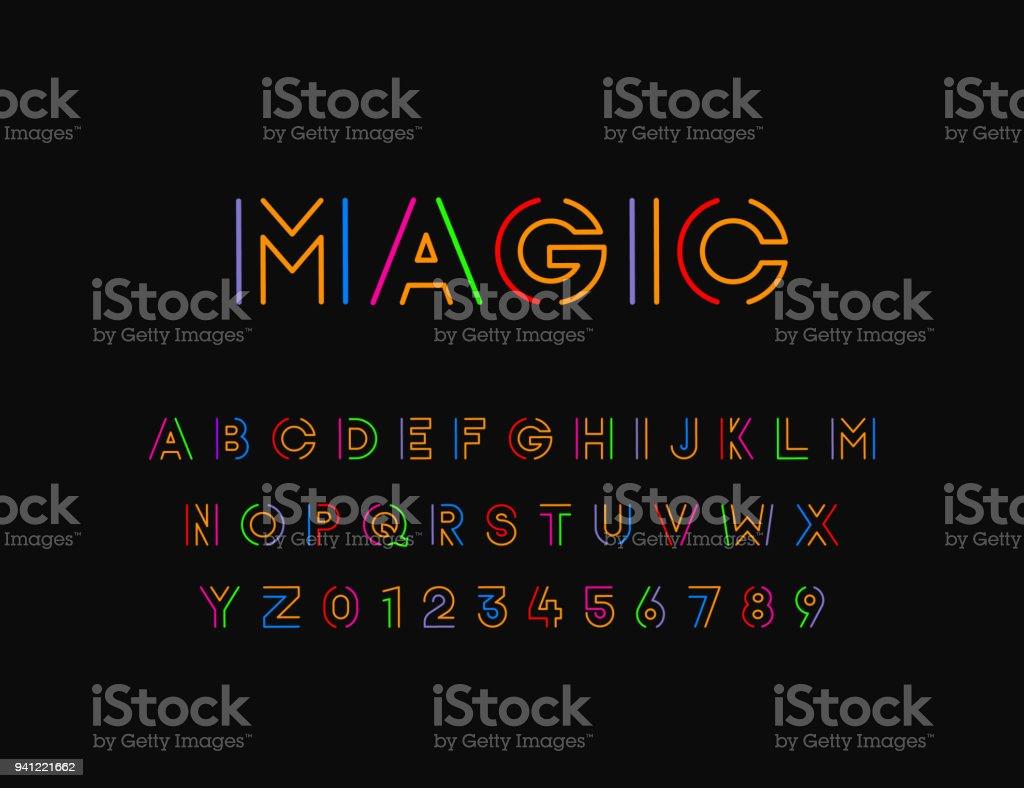 Polices de vector stylisé coloré à fil fin. Conception typographique polices de vector stylisé coloré à fil fin conception typographique vecteurs libres de droits et plus d'images vectorielles de a la mode libre de droits