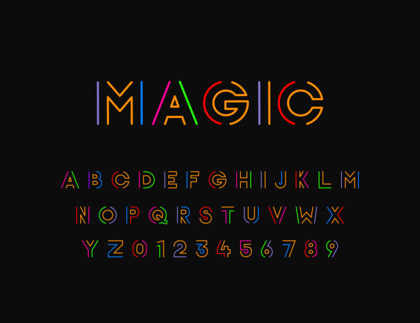 Colorful Stylized vector font with thin line. Typographic design vector eps10 alphabet patterns stock illustrations