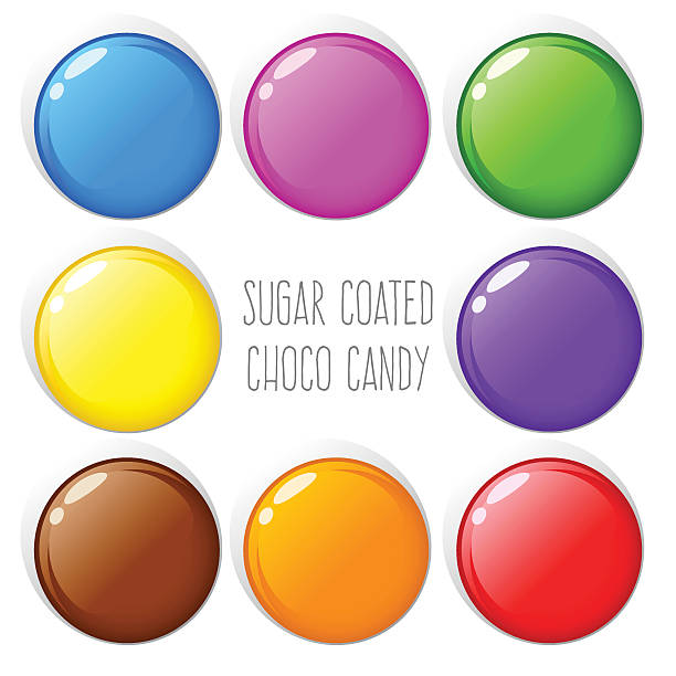 colorful sugar coated chocolate candy - plant pod stock illustrations