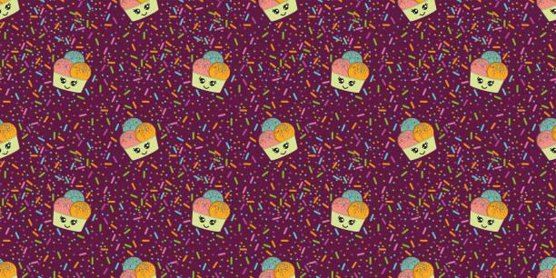 Coloridos jimmies de azúcar y helados sobre fondo púrpura. Diseño de patrón de superficie para fondo, tela o papel. - Patrón sin costuras - Vector - ilustración de arte vectorial