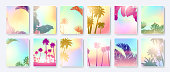 Colorful Summer banners, tropical backgrounds set with palms, sea, clouds, sky, beach. Beautiful Summer Time cards, posters, flyers, party invitations. Summertime, template collection.