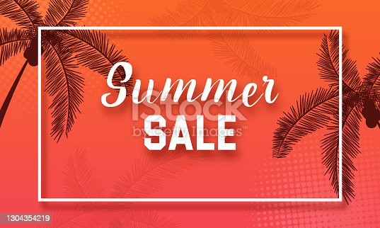 istock Colorful Summer banners, tropical backgrounds with tree. Vector illustration. stock illustration 1304354219