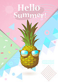 Abstract geometry element and engraving drawing pineapple illustration with sunglasses on colorful pastel background for summer event