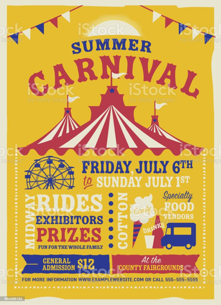 Colorful Summer Carnival Poster design template - Векторная графика Midway роялти-фри