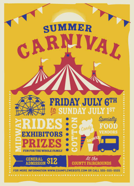 colorful summer carnival poster design template - tradycyjny festiwal stock illustrations