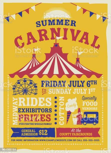 Kleurrijke Zomer Carnaval Poster Ontwerpsjabloon Stockvectorkunst en meer beelden van Advertentie