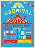 Vector illustration of a Colorful Summer Carnival Poster design template. Includes creative placement text, carnival tent, cotton candy, food truck, ferris wheel and design elements. Colorful and vibrant easy to edit or customize.