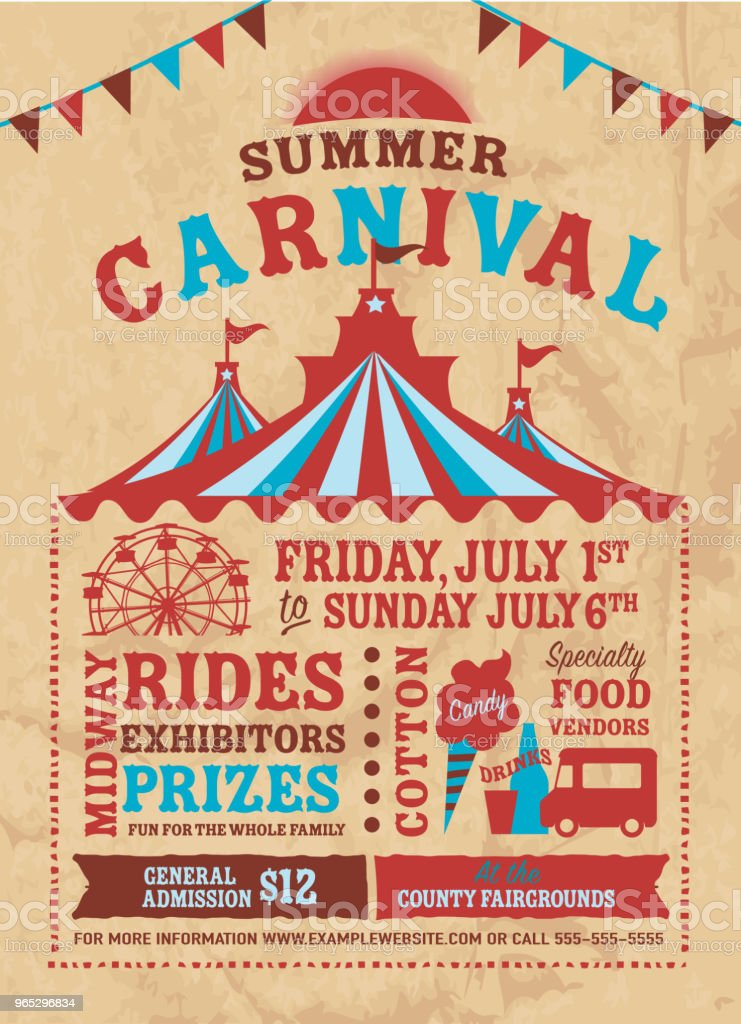 Colorful Summer Carnival Poster design template royalty-free colorful summer carnival poster design template stock illustration - download image now