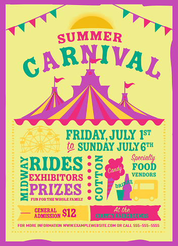 Colorful Summer Carnival Poster Design Template Stock ...
