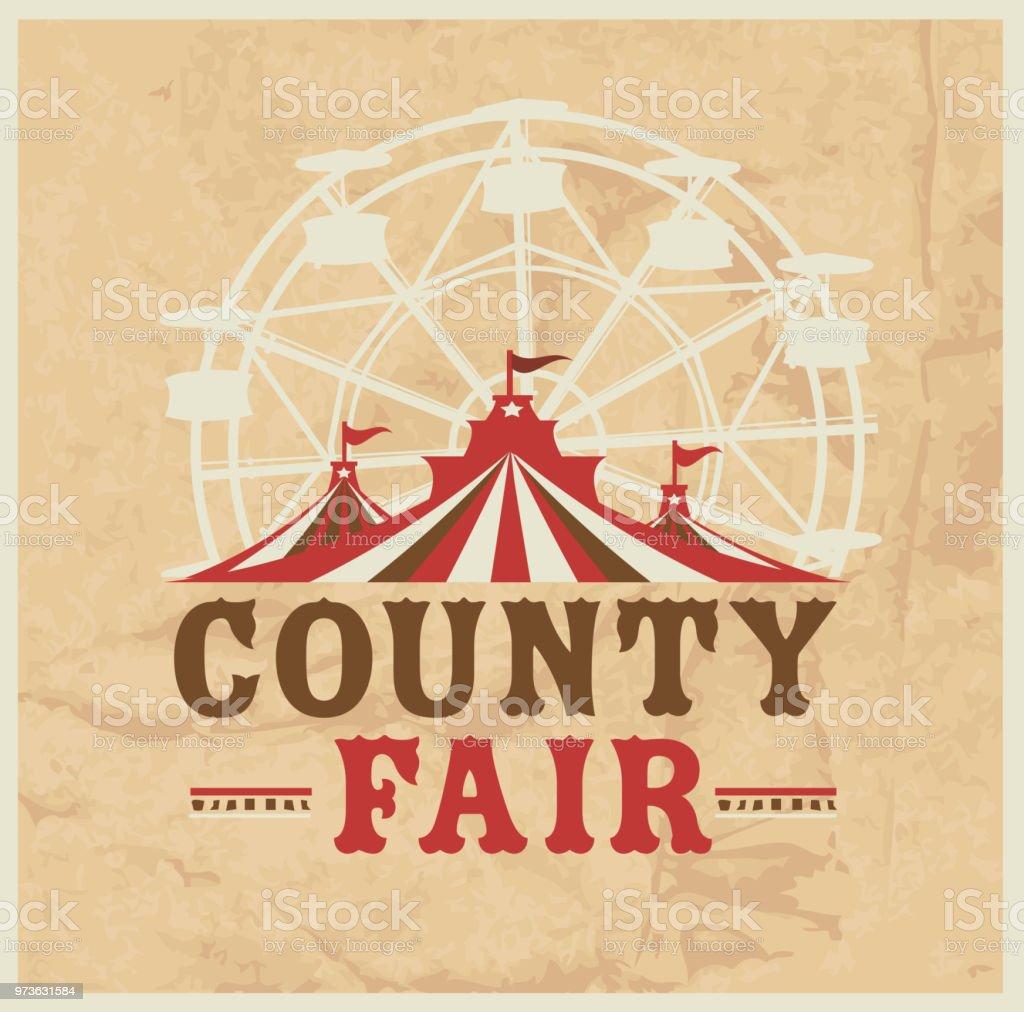 Colorful Summer County Fair emblem design template vector art illustration