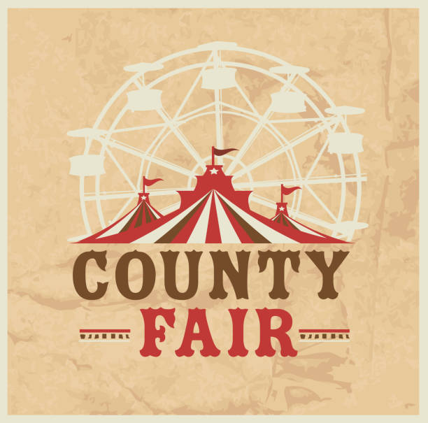Colorful Summer County Fair emblem design template Vector illustration of a Colorful Summer County Fair emblem design template. Includes creative placement text, carnival tent, ferris wheel and design elements. Colorful and vibrant easy to edit or customize. farmer's market stock illustrations