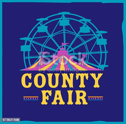 Vector illustration of a Colorful Summer County Fair emblem design template. Includes creative placement text, carnival tent, ferris wheel and design elements. Colorful and vibrant easy to edit or customize.