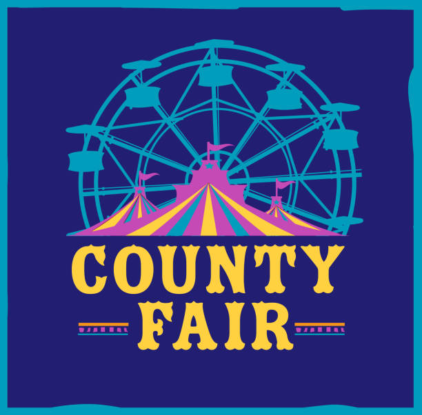 Colorful Summer County Fair emblem design template Vector illustration of a Colorful Summer County Fair emblem design template. Includes creative placement text, carnival tent, ferris wheel and design elements. Colorful and vibrant easy to edit or customize. agricultural fair stock illustrations