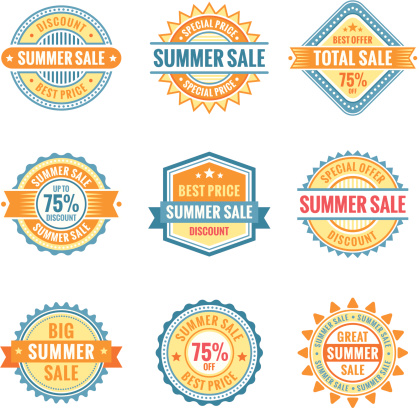Colorful summer sale signs in yellow and blue