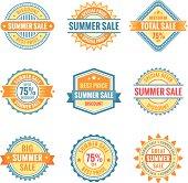 Set of nine labels, summer sale.