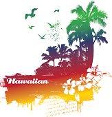 Colorful summer scene with the word Hawaiian