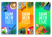 Colorful Summer Vertical Banner Set with Bright Vivid Gradient Background and Tropical Elements Like Palm Leaves, Surfboard, Scuba Diving Equipment, Beach Ball, Slippers and Sunglasses. Vector Illustration