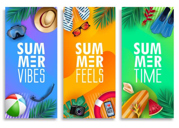 ilustraciones, imágenes clip art, dibujos animados e iconos de stock de colorido verano banner vertical conjunto con brillante fondo degradado vivo y elementos tropicales - verano