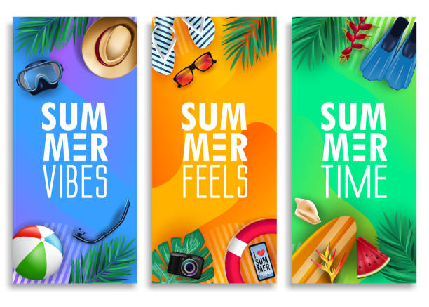 colorful summer vertical banner set with bright vivid gradient background and tropical elements - summer background stock illustrations
