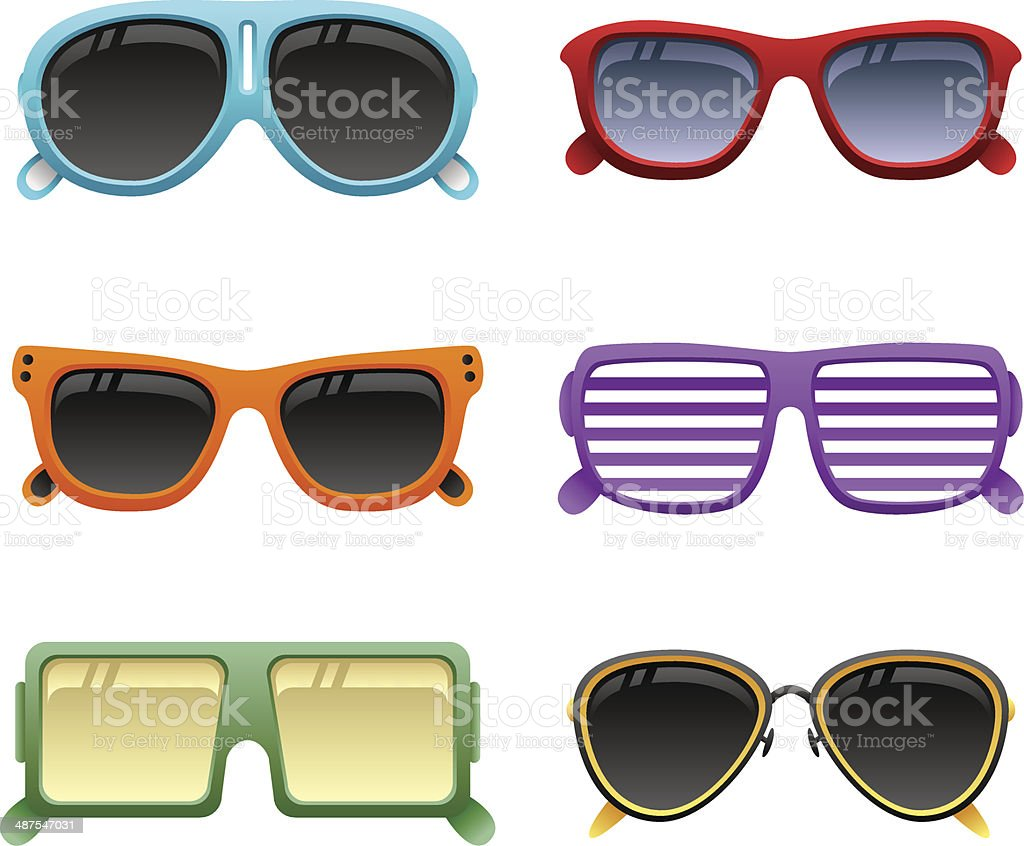 colorful sunglasses set 1 vector art illustration