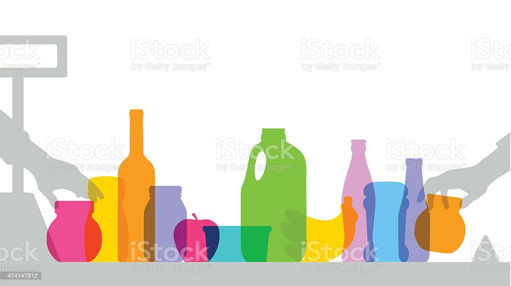 Colorful supermarket checkout silhouettes vector art illustration