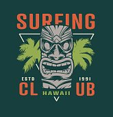 Colorful surfing time label