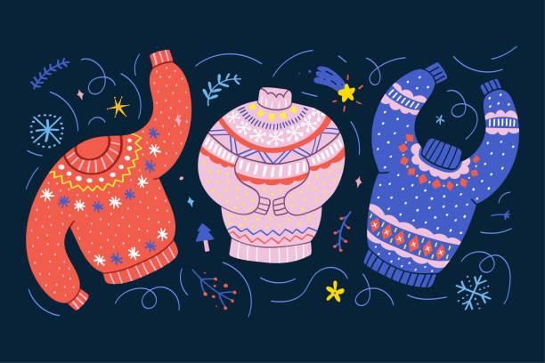 stockillustraties, clipart, cartoons en iconen met kleurrijke truien versierd met kerst ornamenten. traditionele kerst lelijke truien met borduursel. schattig hand getekende cartoon stijl, kleurrijke vector illustratie. - trui