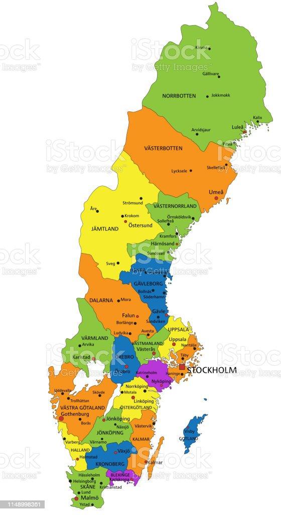 Mapa Politico De Suecia.Ilustracion De Mapa Politico Colorido De Suecia Con Capas