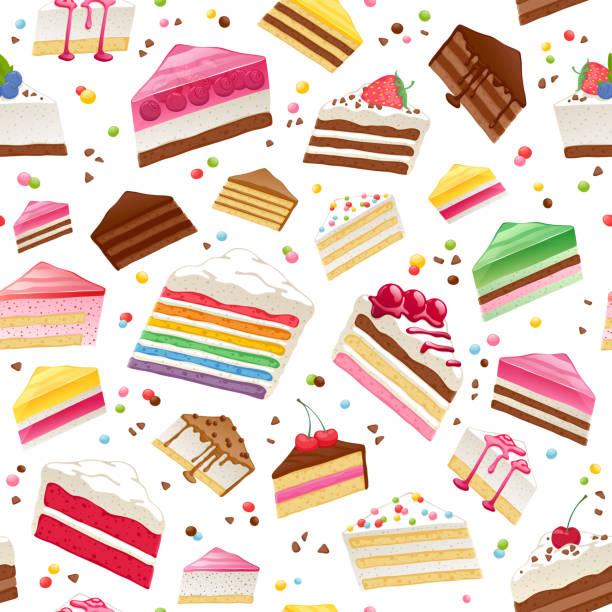 bunte süße kuchen scheiben nahtlose hintergrund - plüschmuster stock-grafiken, -clipart, -cartoons und -symbole