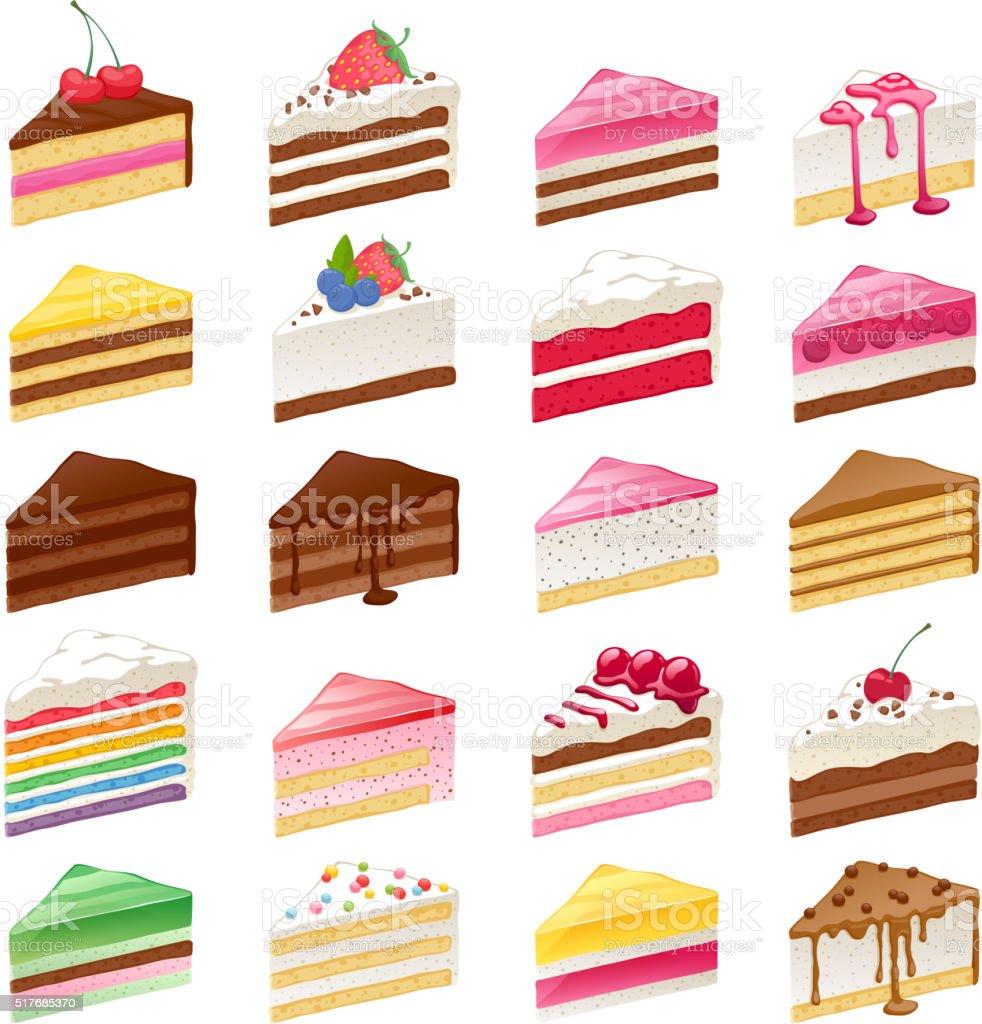 Colorful sweet cakes slices set vector illustration vector art illustration