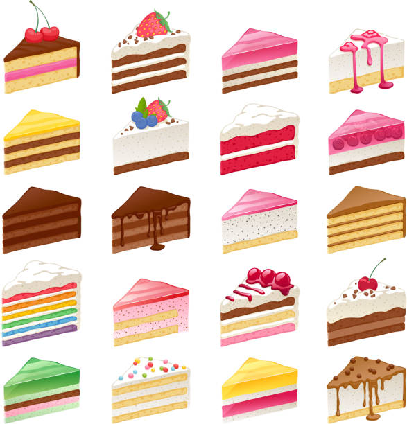красочные сладкие пирожные ломтика набор векторная иллюстрация - cake stock illustrations