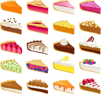 Colorful sweet pies slices set vector illustration