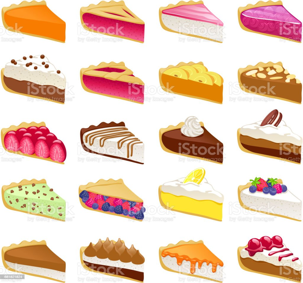 Colorful sweet pies slices set vector illustration vector art illustration